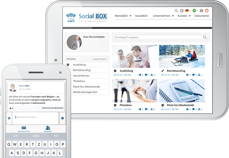 SocialBOX-App Smartphone Tablet