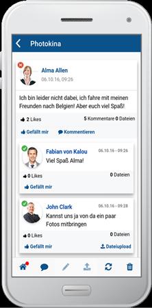 Intranet Social Software - SocialBOX für den Desktop und als Handy-APP