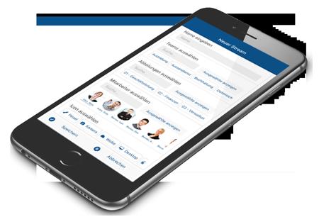SocialBOX-App Smartphone liegend - neuer Stream