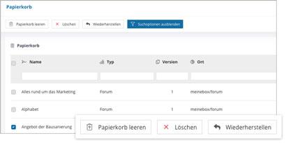 Intranet Social Software Modul Papierkorb