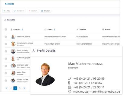 Intranet Social Software Modul Kontakt