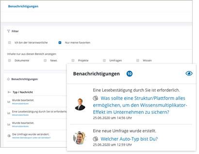 Intranet Social Software Modul Benachrichtigungen