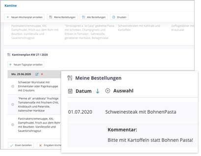Intranet Social Software Modul Kantinenplan