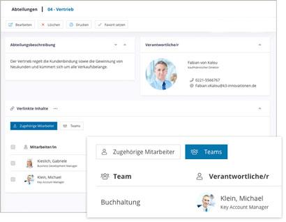 Intranet Social Software Modul Abteilung